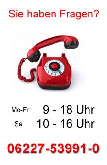 Sie haben Fragen? Hotline: 0 62 27 - 53 99 10