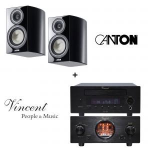 Vincent SV-200 und CD-200 schwarz + Canton Vento 826.2 schwarz highgloss Paar Regallautsprecher