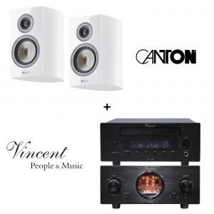 Vincent SV-200 und CD-200 schwarz + Canton Vento 836.2 weiss highgloss Paar Regallautsprecher