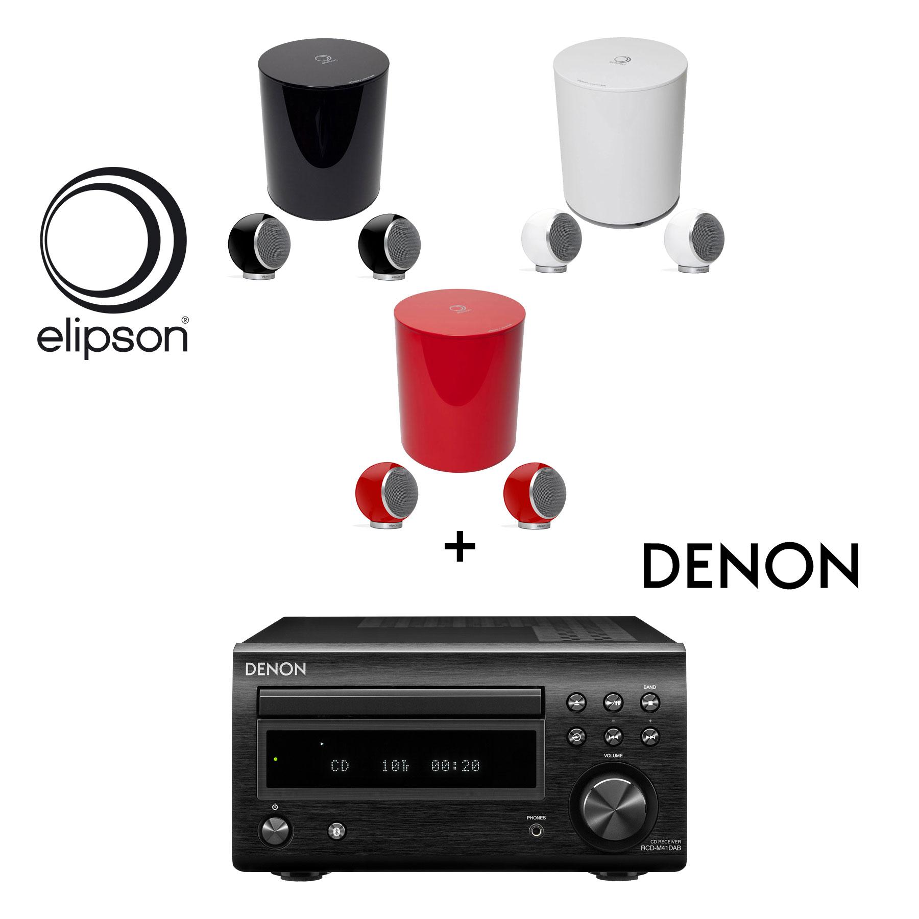 Denon RCD-M 41 DAB schwarz CD-Receiver + Elipson Planet M 2.1 Lautsprecher-Set 99480