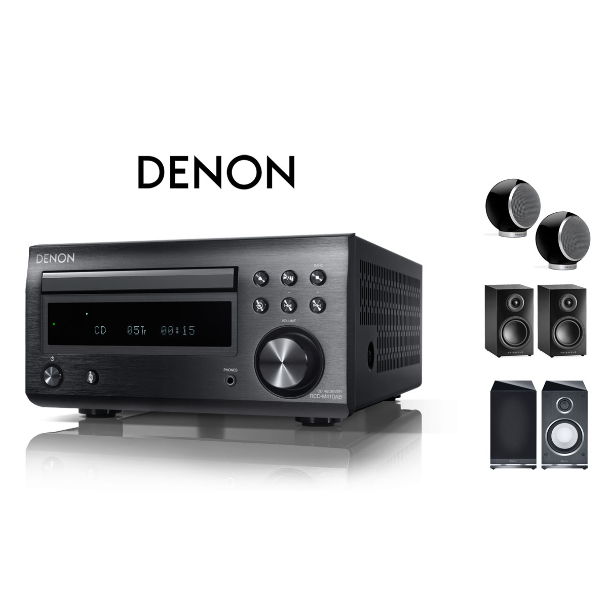 Denon RCD-M 41 DAB schwarz CD-Receiver + Lautsprecher 99481