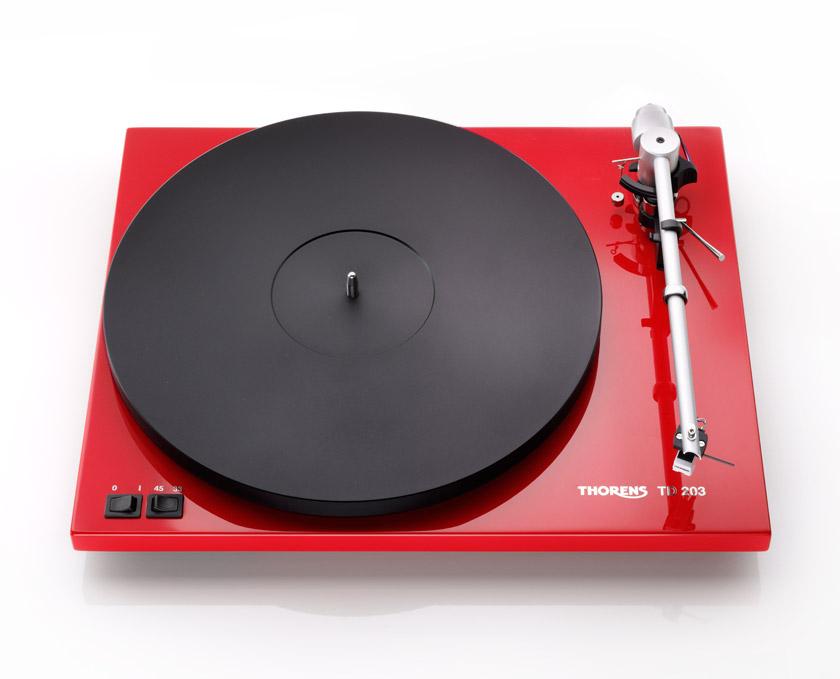 Thorens TD 203 hochglanz rot Plattenspieler 44140